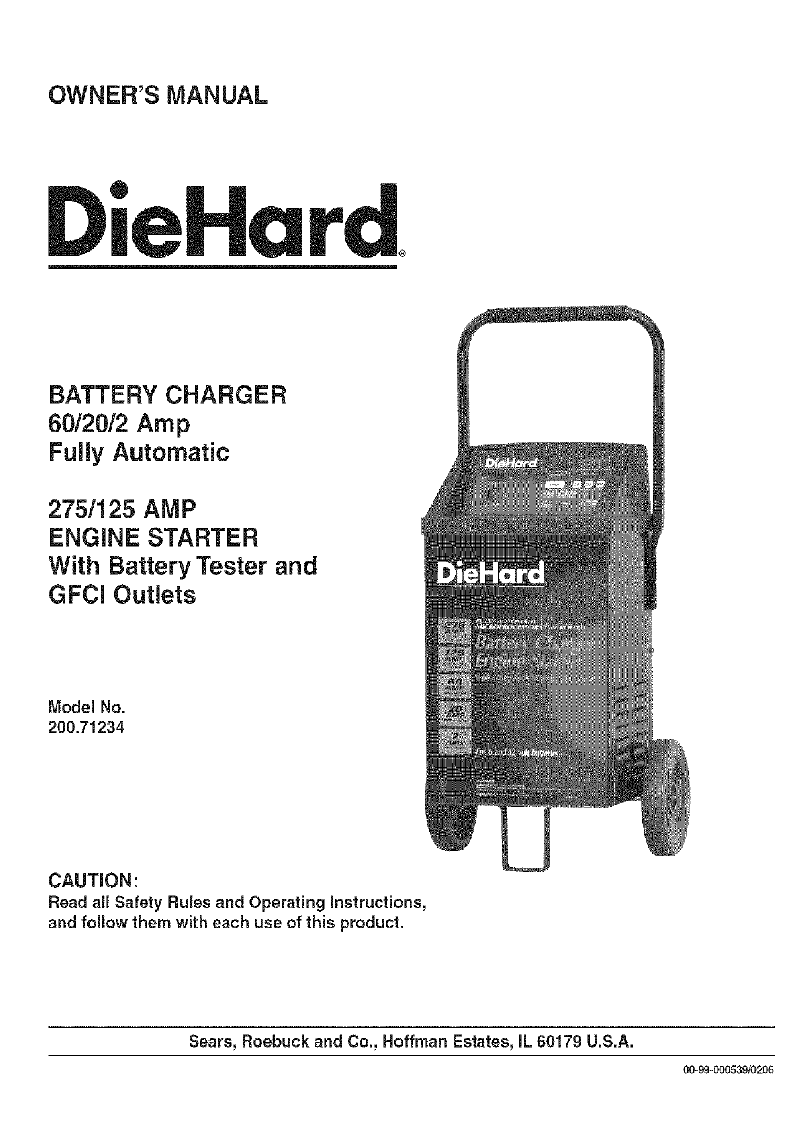 DieHard 200.71234 Battery Charger Owner's manual PDF View