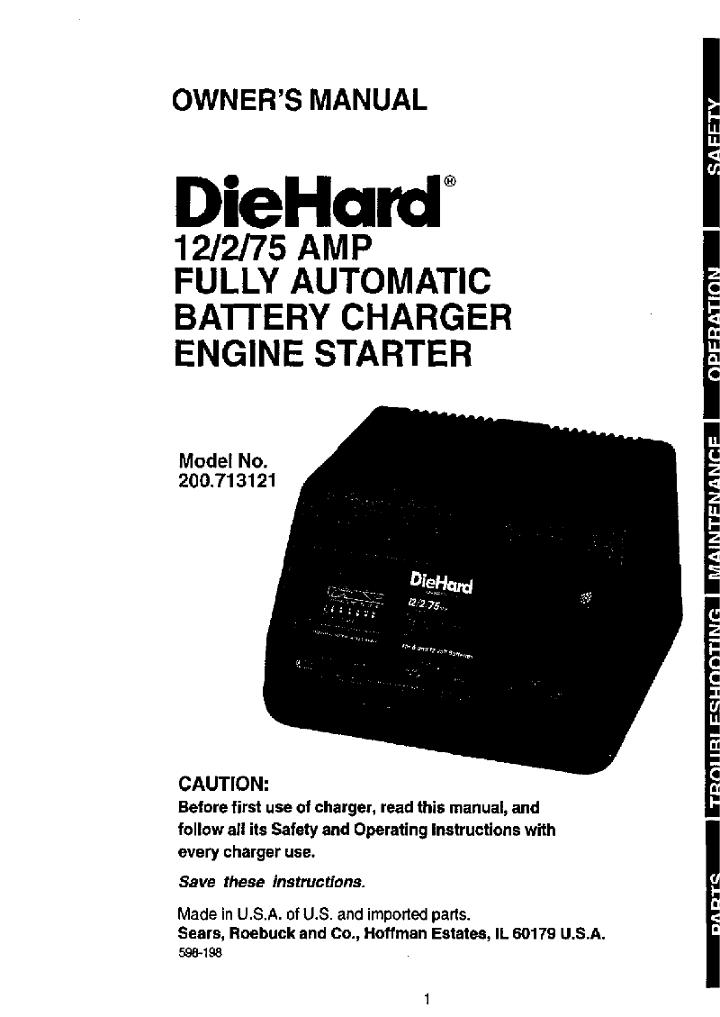 DieHard 200.713121 Battery Charger Owner's manual PDF View