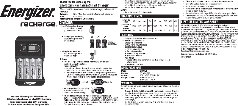Energizer Recharge Smart CHP41US Battery Charger Manual