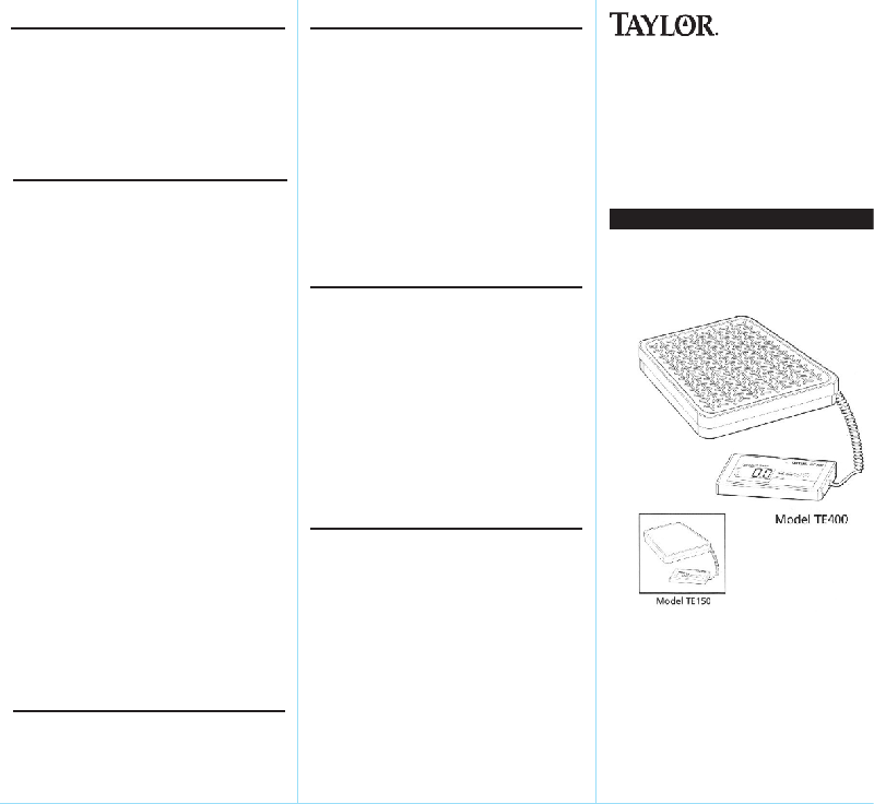 Taylor TE150 Scale Instruction manual PDF View/Download