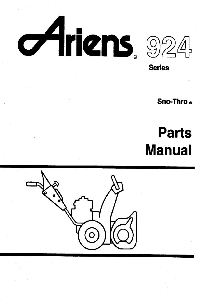 Ariens Sno-Thro 924090 Snow Blower Parts manual PDF View