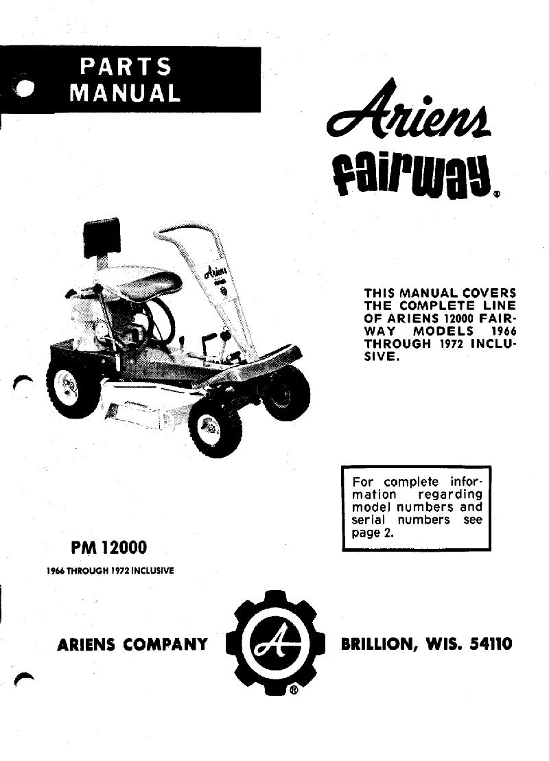 Ariens Fairway 912973 Lawn Mower Parts manual PDF View