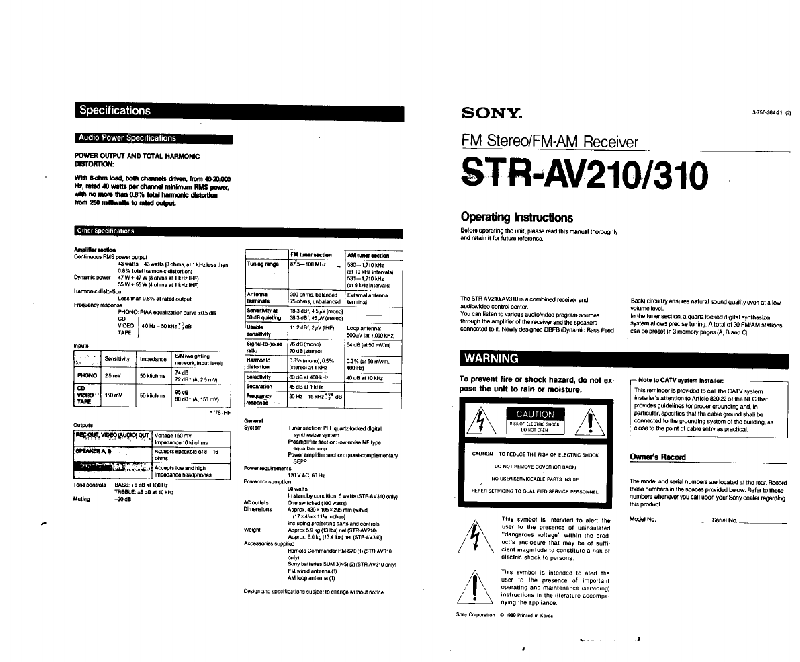 Sony STR-AV210 Stereo Receiver Operating instructions PDF