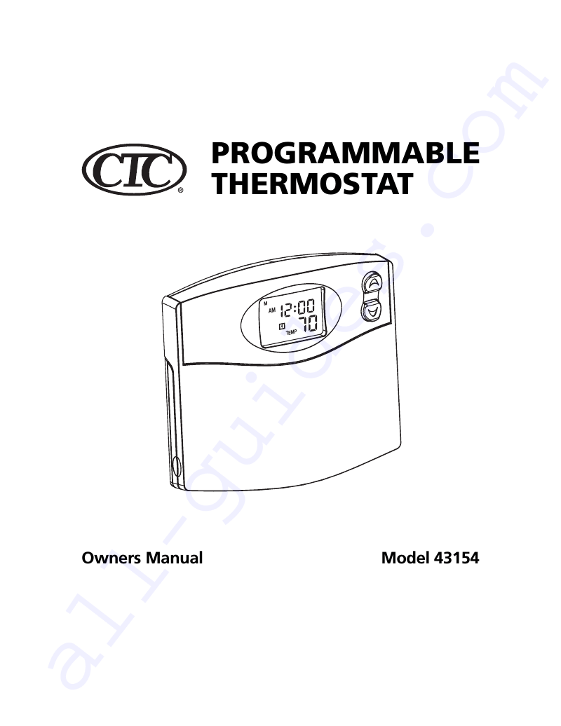 Climate Technology 43154 Thermostat Owner's manual PDF