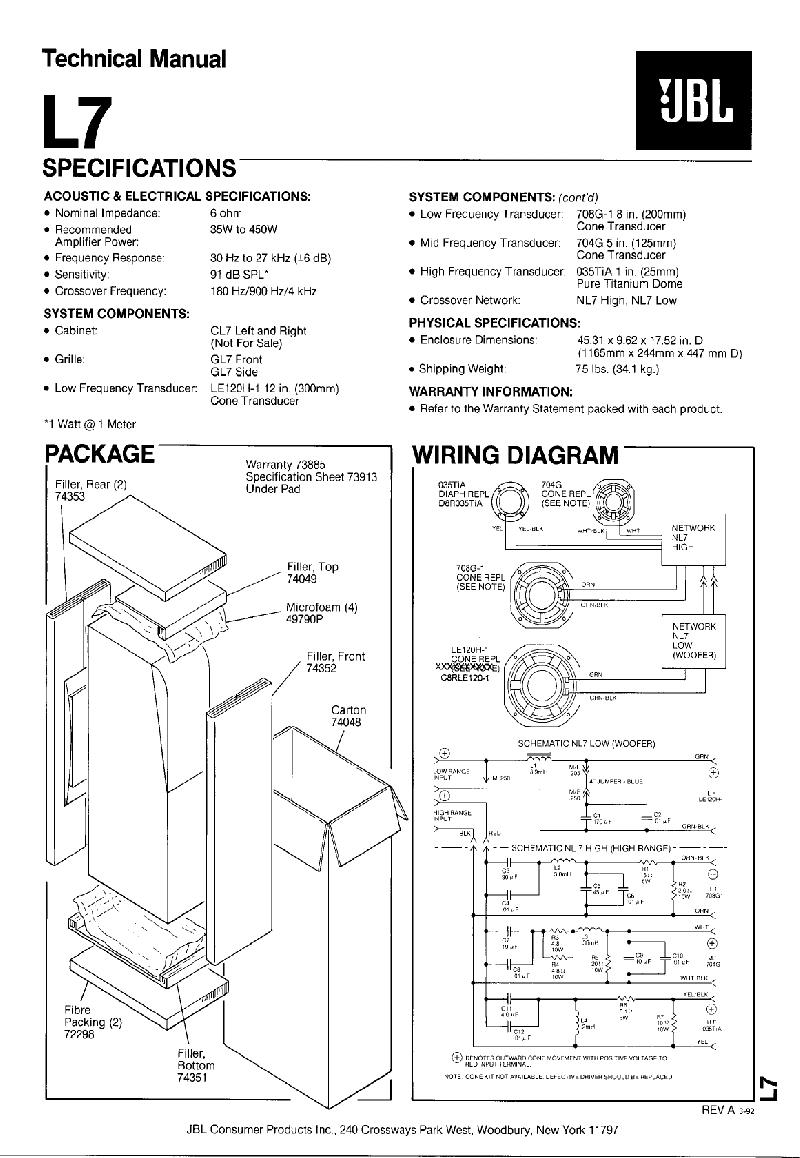 JBL L7 Speakers Technical manual PDF View/Download