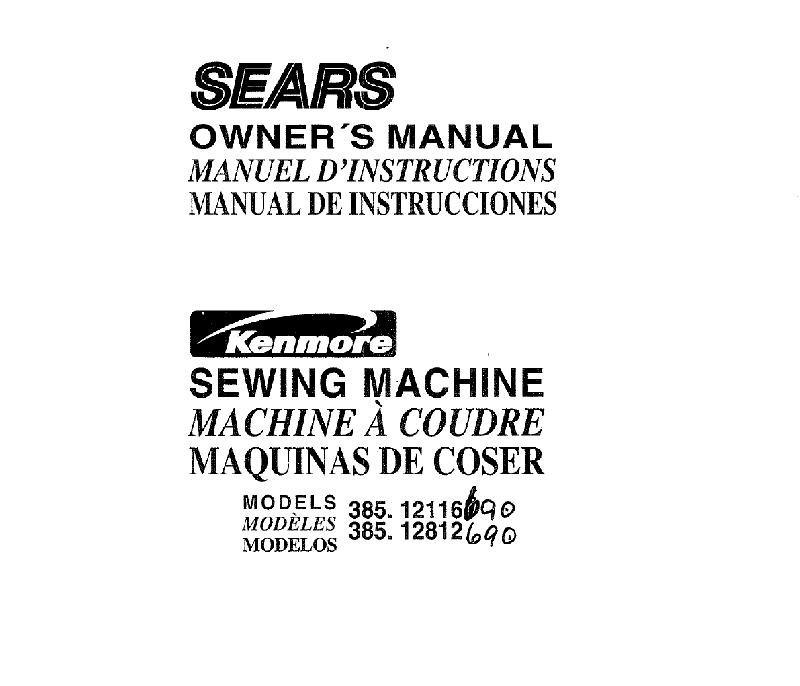 Kenmore 385.12116690 Sewing Machine Owner's manual PDF