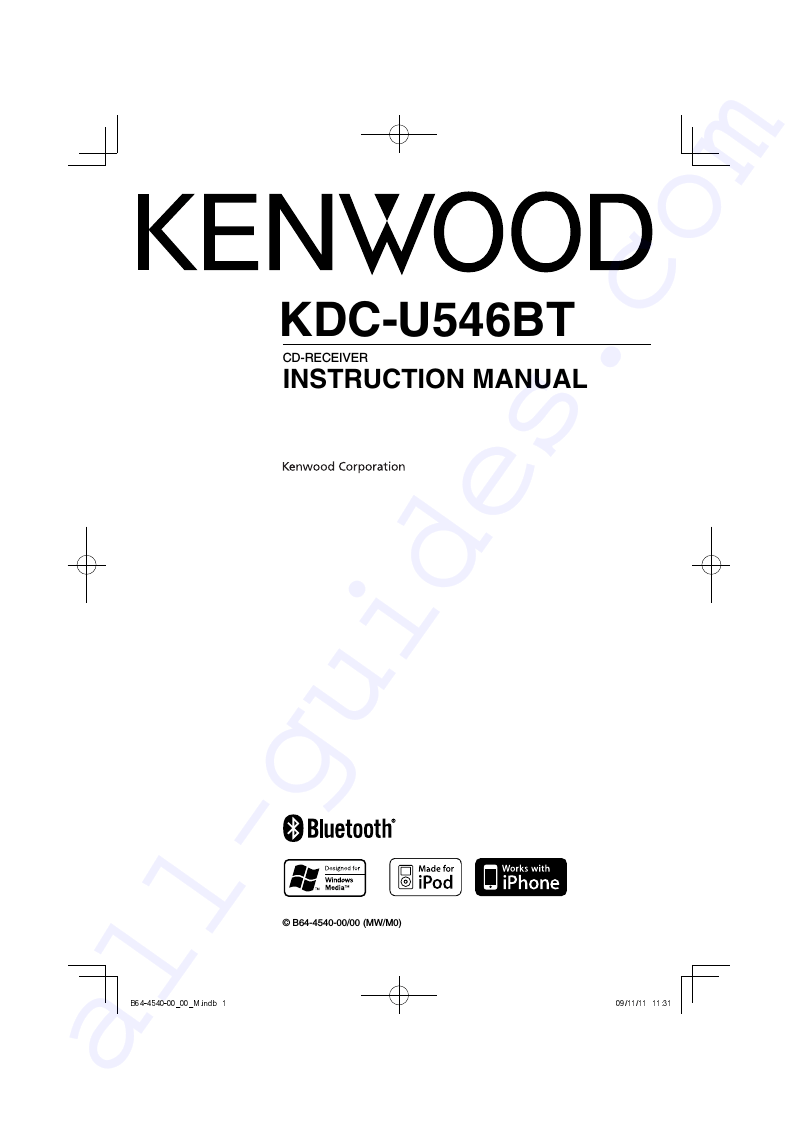 Kenwood KDC-U546BT Car Stereo System Instruction manual