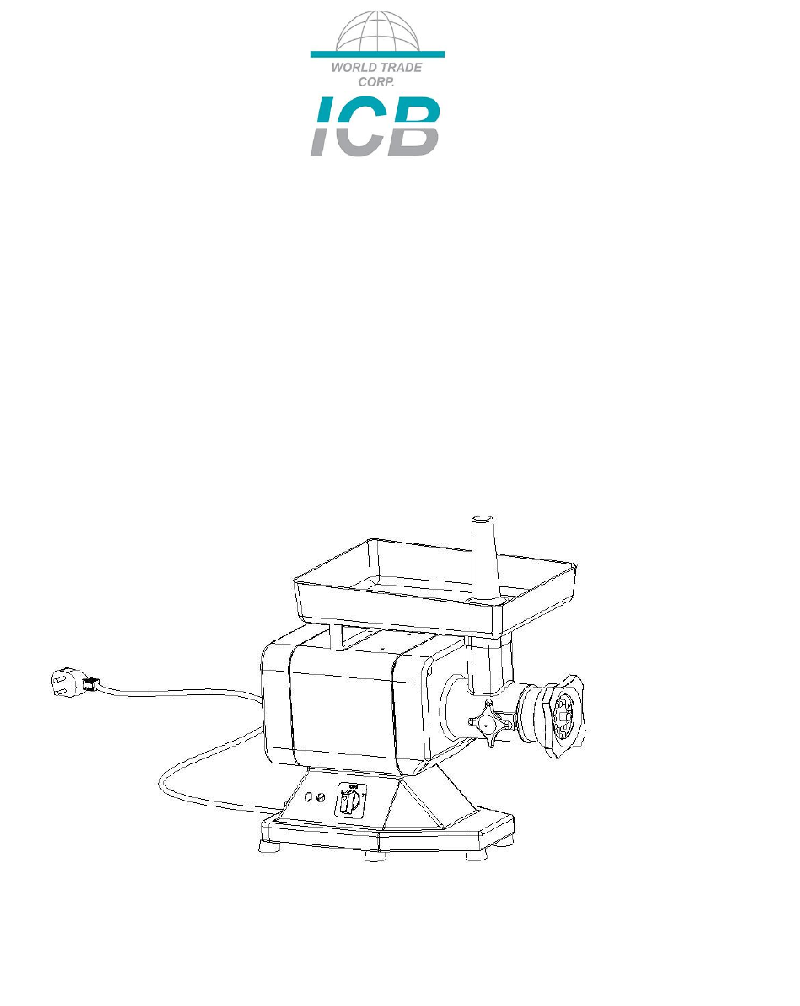 ICB HM-12 Meat Grinder Operation & user's manual PDF View