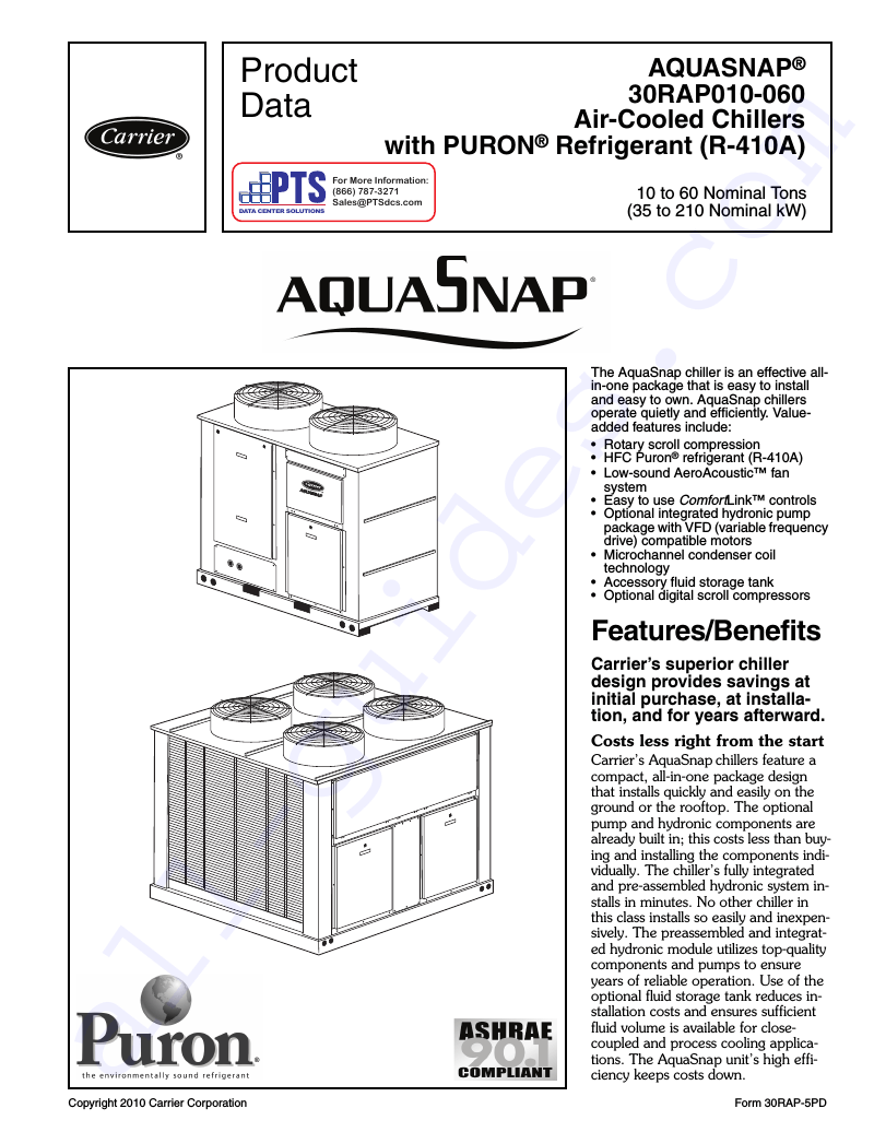 Carrier Aquasnap 30RAP010 Chiller Product data PDF View