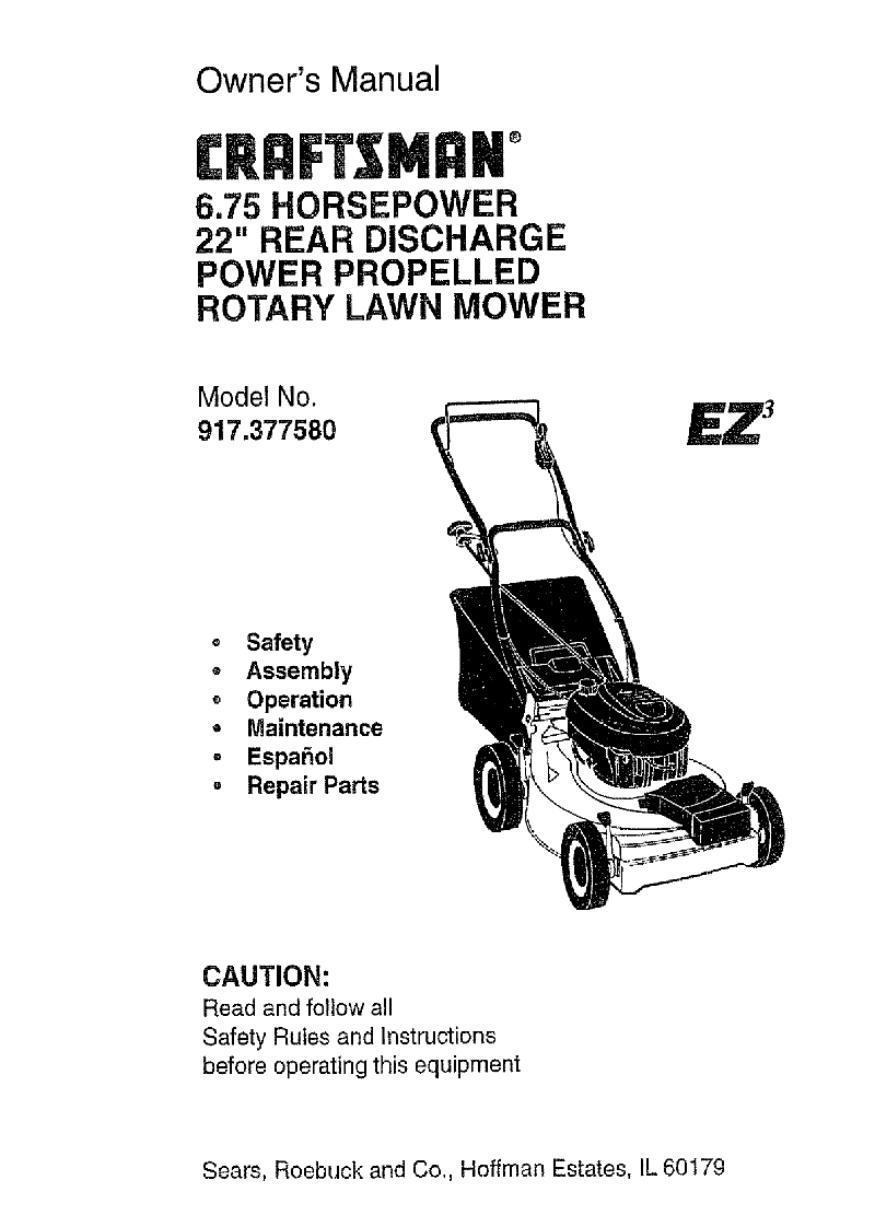 Craftsman EZ3 917.377580 Lawn Mower Owner's manual PDF