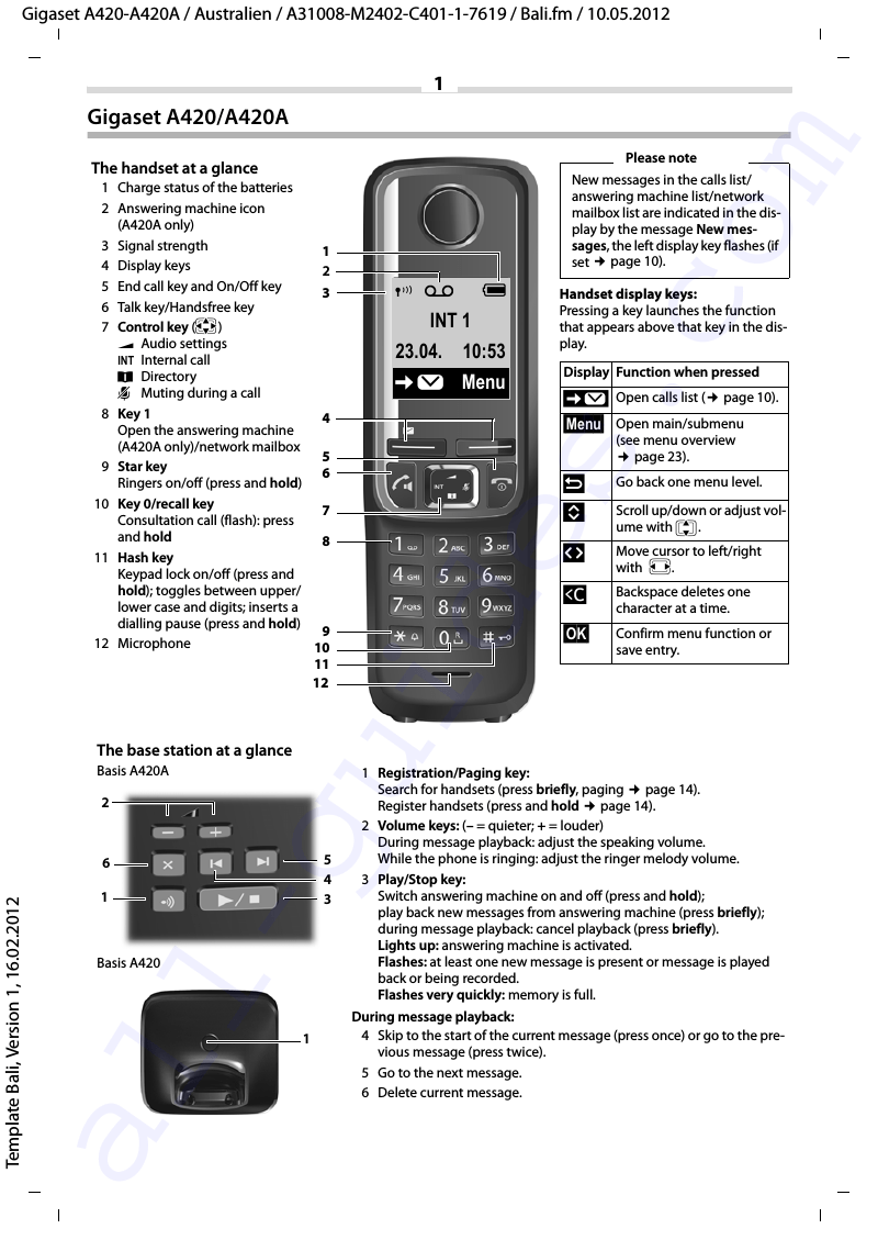 Gigaset A420 Telephone Operation & user's manual PDF View