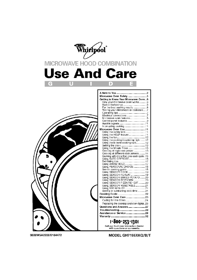 Whirlpool GH7155XKT Microwave Oven Use and care manual PDF
