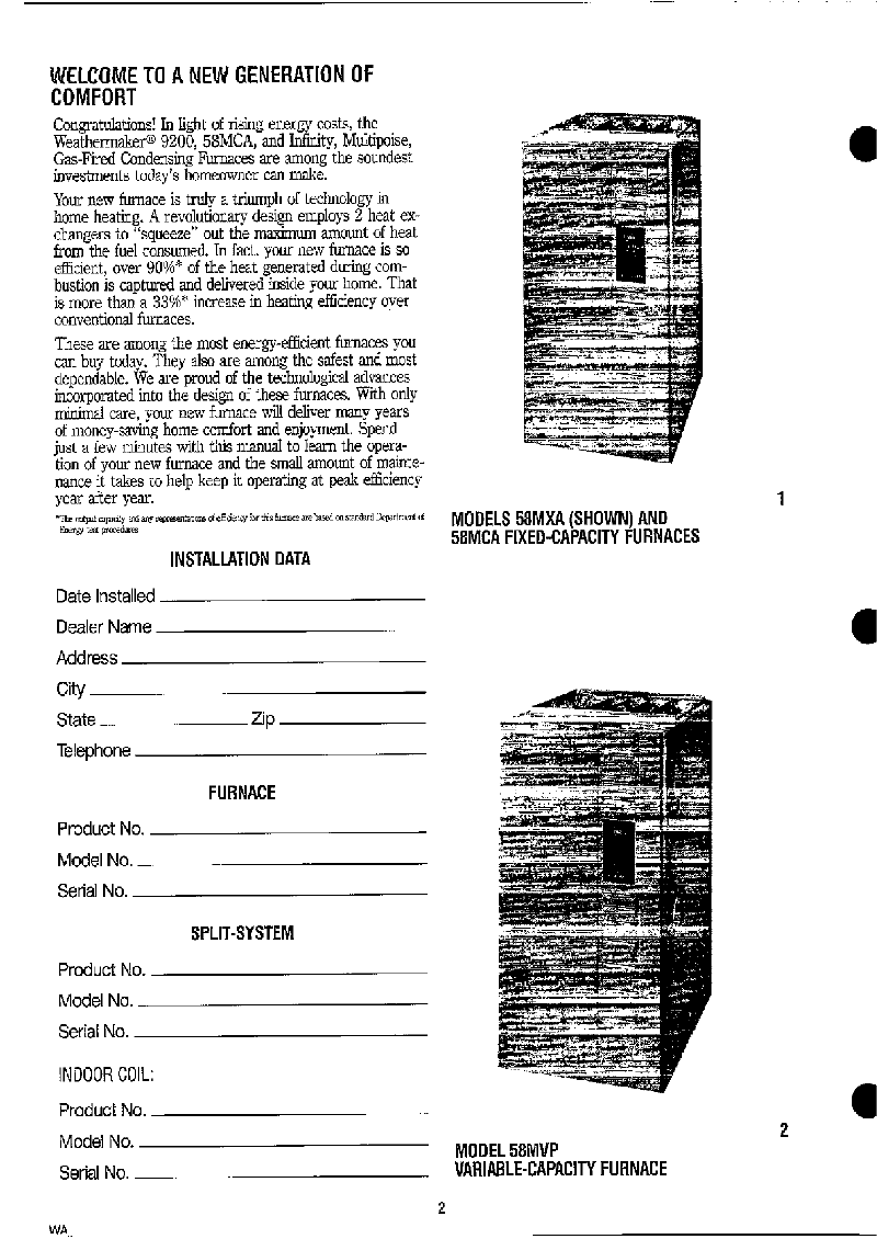 Carrier Deluxe 58MVP Thermostat User's information manual