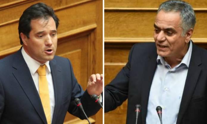 «Αρπάχτηκαν» Άδωνις και Σκουρλέτης στη Βουλή