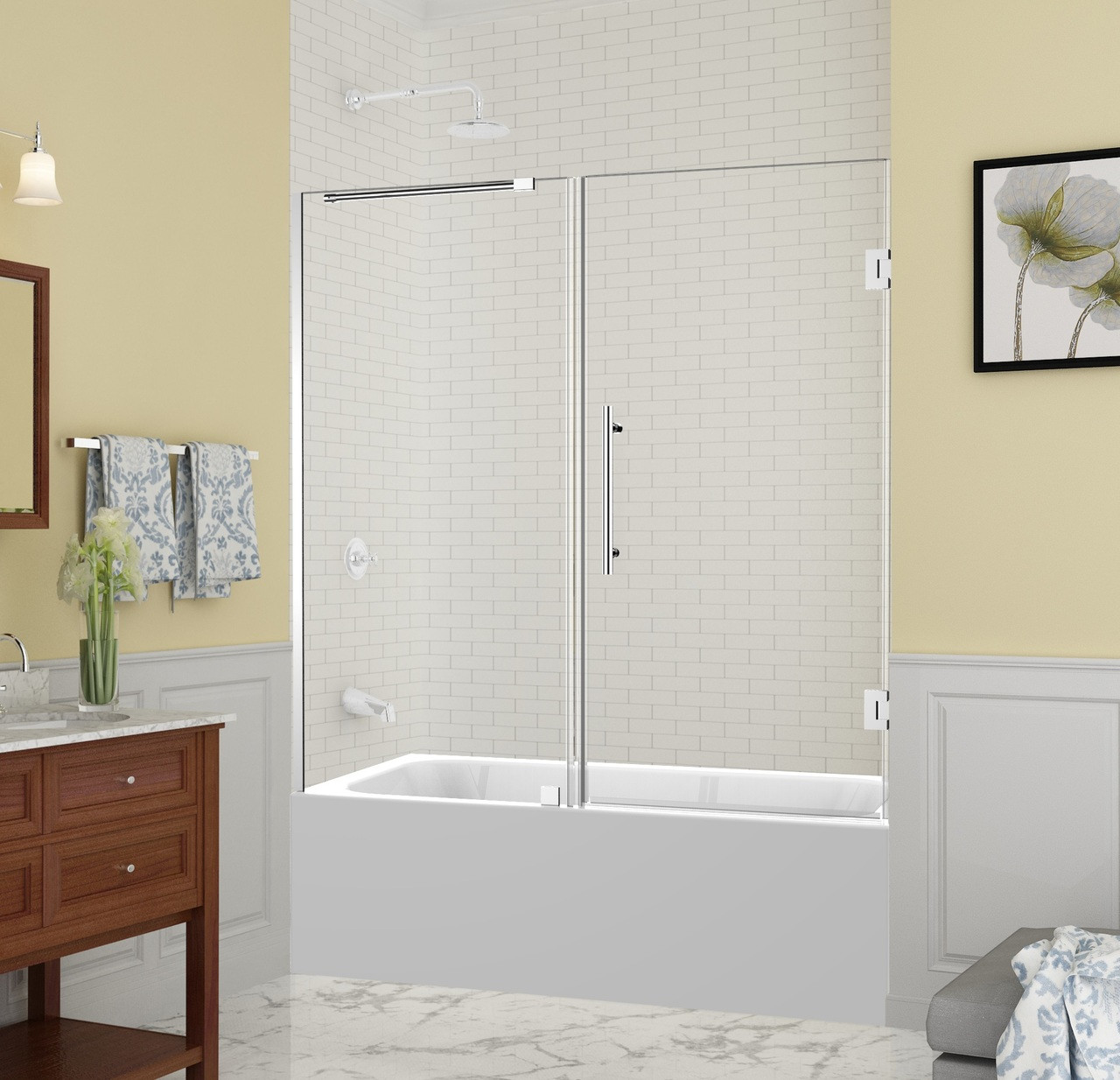 Tdr965 Belmore Frameless Hinged Tub Height Shower With
