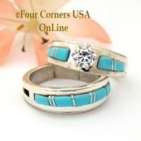 Size 6 1/2 Turquoise Engagement Bridal Wedding Ring Set ...
