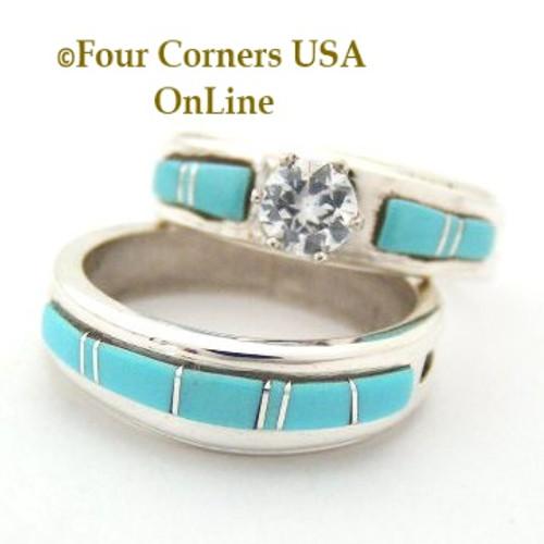 Turquoise Engagement Bridal Wedding Ring Set Size 7 34