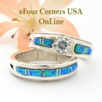Blue Opal Engagement Wedding Ring Sets - Native American ...