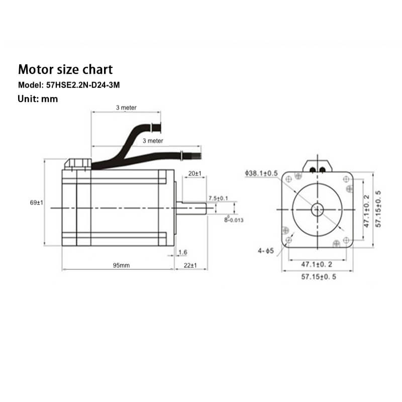 Closed Loop Stepper motor with Driver, NEMA 23, 2.2Nm