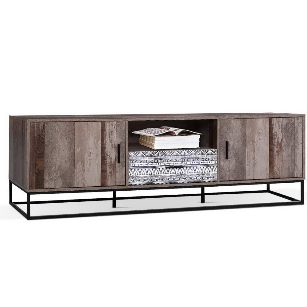 Tv Board Industrial Artiss Tv Cabinet Entertainment Unit Stand Storage Wooden Industrial Rustic 180cm - Hellodeals