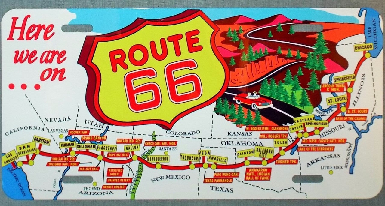 Vintage Route 66 Map License Plate  Route 66 Gift Shop