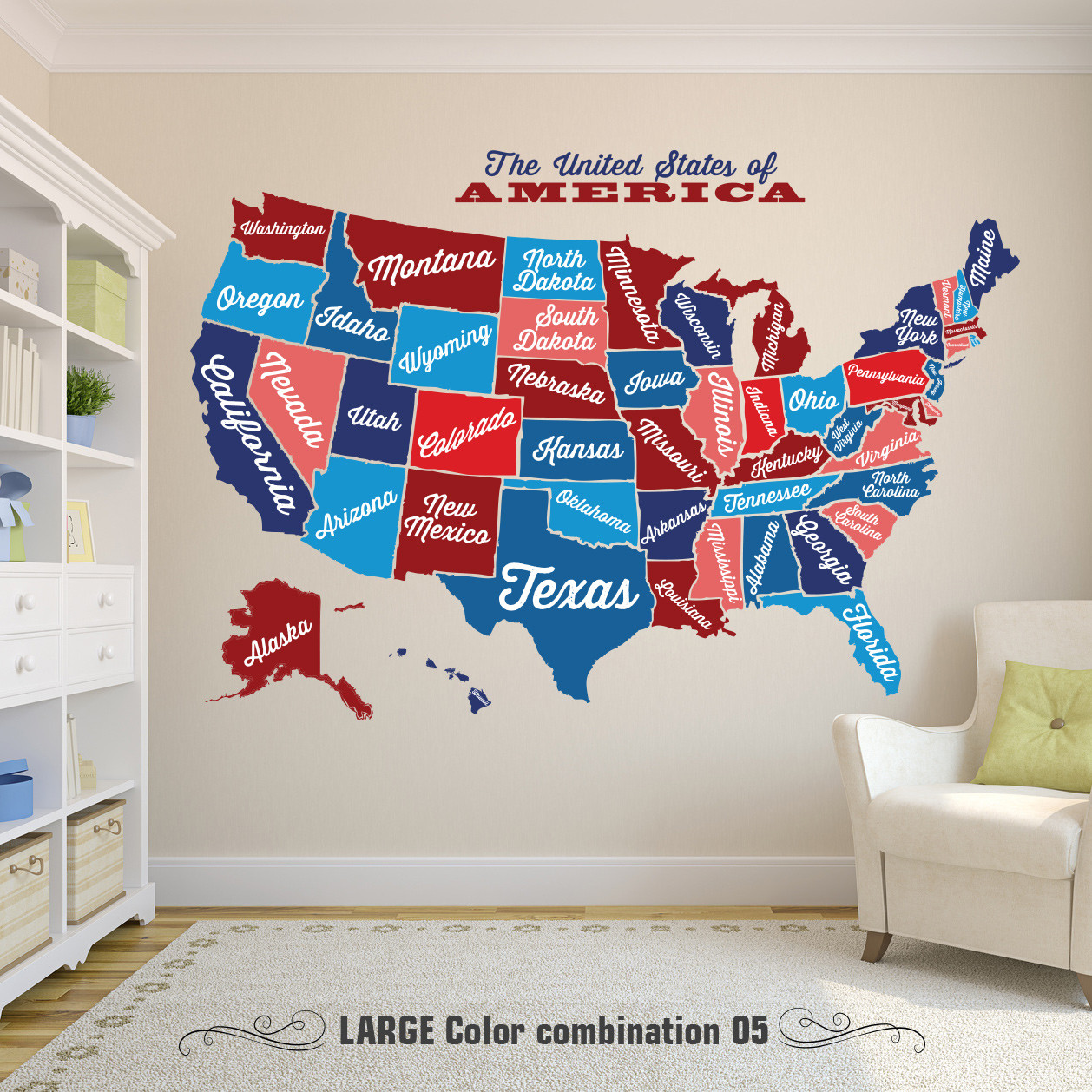 United States Map, Decal USA Map Sticker, State Map Wall