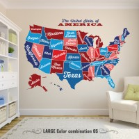 United States Map, Decal USA Map Sticker, State Map Wall ...