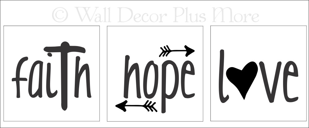 Faith Hope Love Vinyl Stickers Lettering Decals For LED Candles