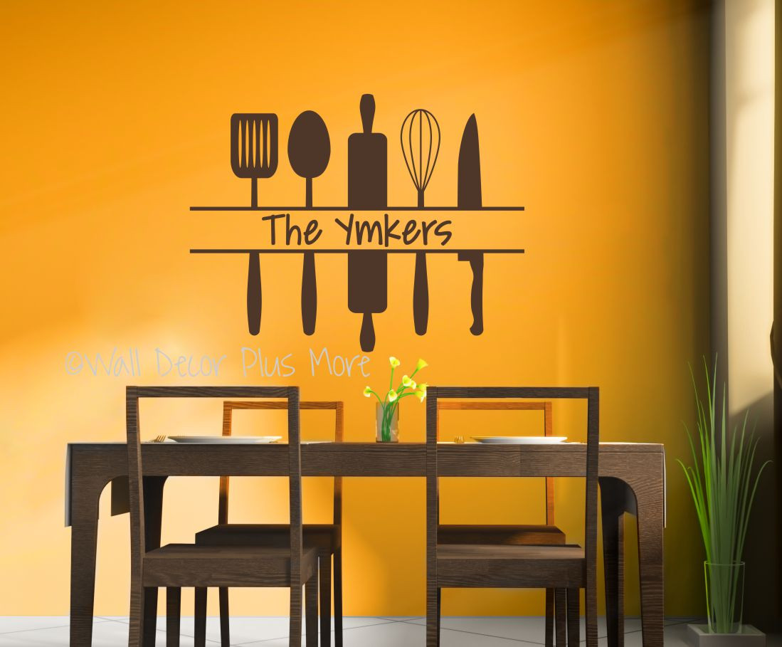 Personalized Kitchen Wall Art Custom Name with Utensils