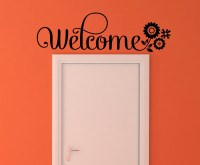 Welcome Wall Sticker Vinyl Decal Wall Letters with Flowers