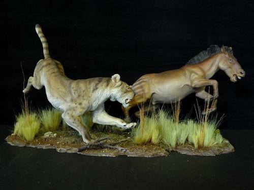 safari high chair hanging melbourne machairodus vs. three-toed horse resin kit by paleocraft - dan's dinosaurs