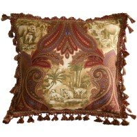 Elephants & Monkeys Pillow with Fringe and Tassel Border