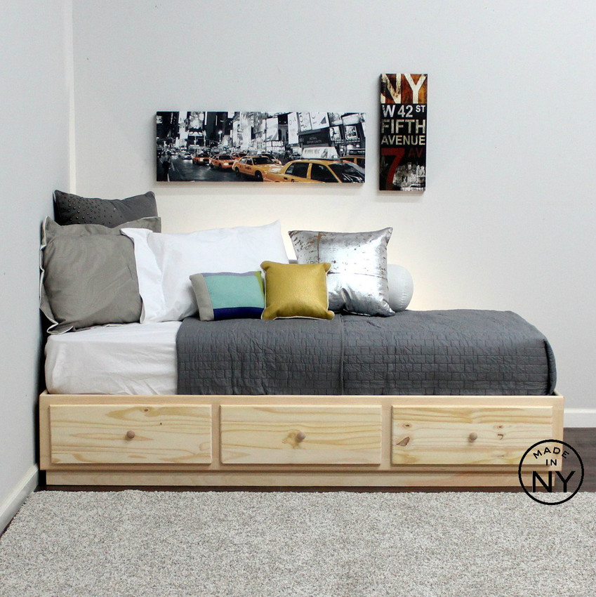 Twin Captains Bed With 3 Drawers Metal Tracks In Pine