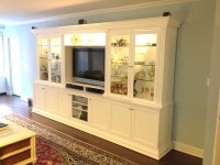 CUSTOM - White Entertainment Center With Glass Doors