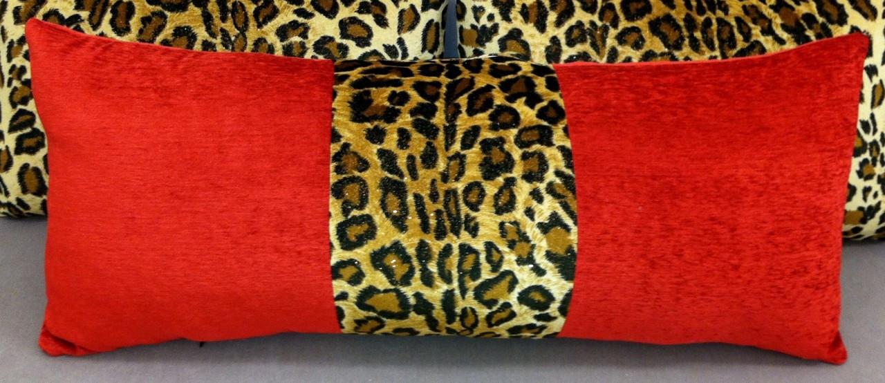 animal print throw pillow leopard red velvet