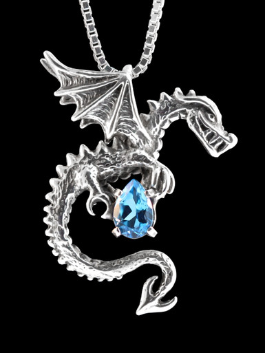 Dragon Spike Dragon Pendant Silver With Gemstone