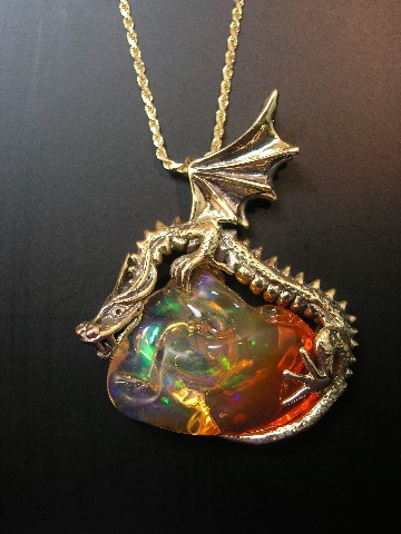 Sunrise Dragon Pendant With Mexican Fire Opal SOLD Jewelry