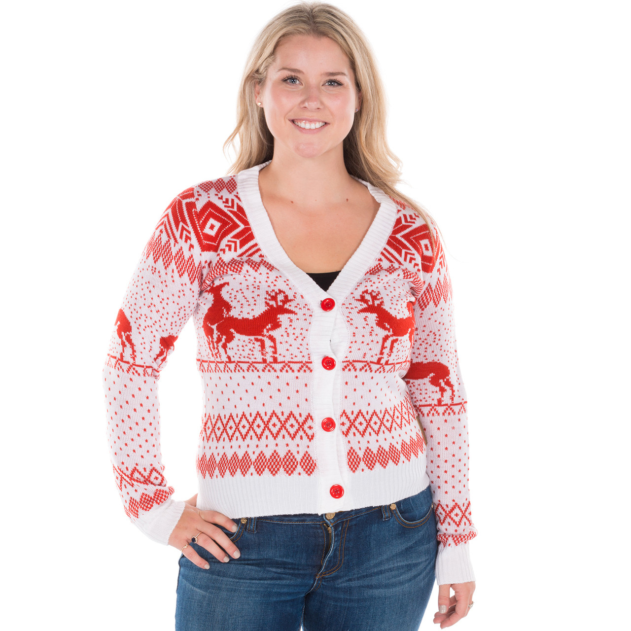 Women' Reindeer Double Date Cardigan White Tipsy