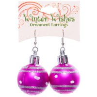 Christmas Ball Earrings - Pink Only - RetroFestive.ca