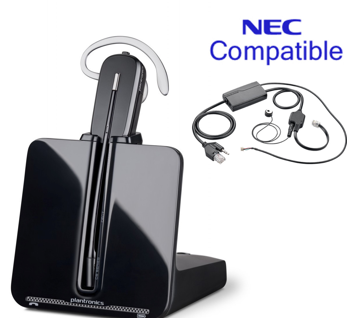 small resolution of nec compatible plantronics cordless headset bundle cs540 ehs with electronic remote answerer nec phones