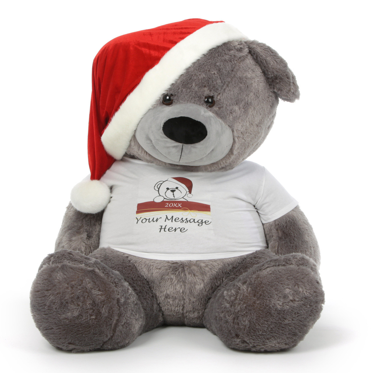 Giant 52in Personalized Christmas Teddy Bear In A Red