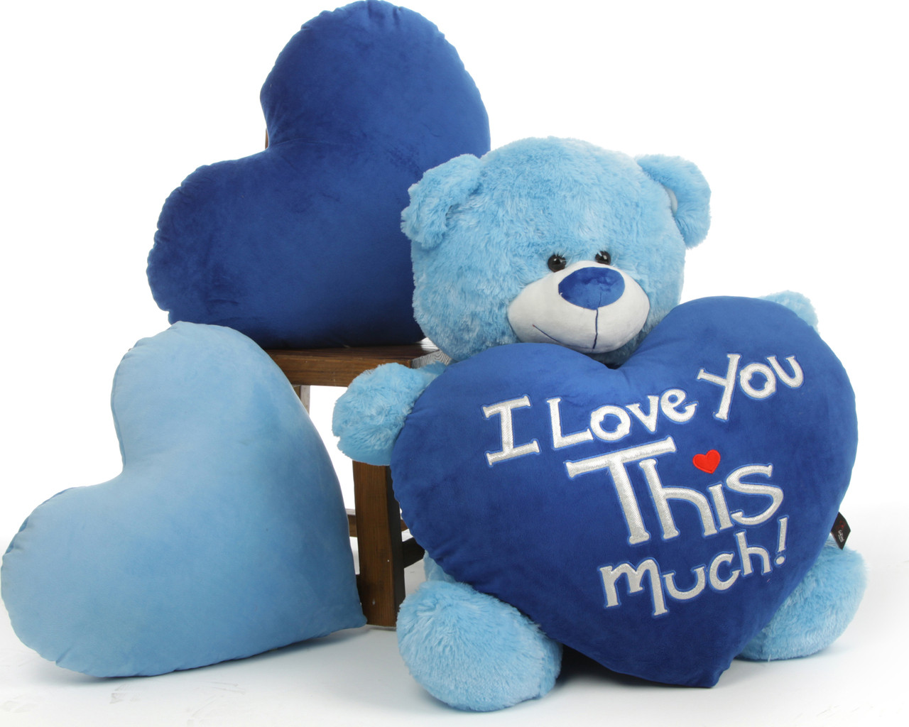 Big 3ft Light Blue Teddy Bear Marty Shags With I Love You