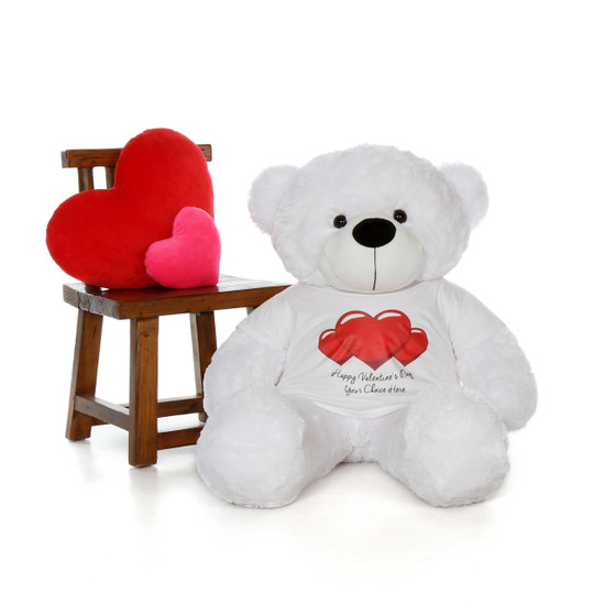 4ft Life Size Teddy Bear Wearing Customizable Red Heart