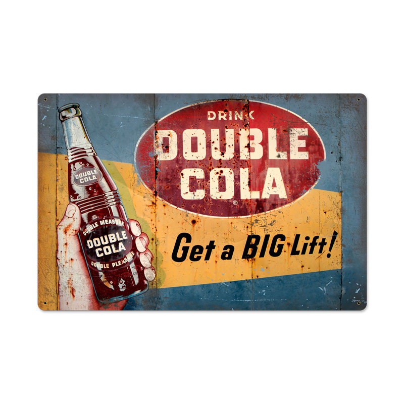 Vintage Double Cola Tin Sign 24 x 16 Inches