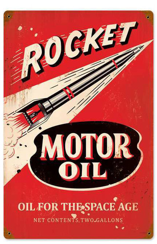 Foreign Girls Wallpaper Retro Rocket Motor Oil Metal Sign 12 X 18 Inches