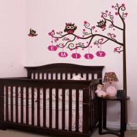 Nursery Crib Name Tree & Owls Wall Decal | DecalMyWall.com