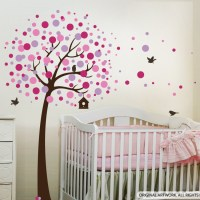 Dots Tree & Birds Wall Decal   DecalMyWall.com