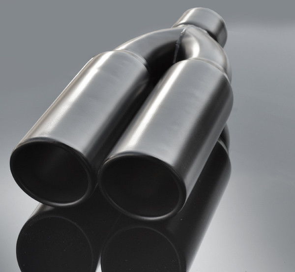 black exhaust muffler tip dual round double walled inner bevel 3 inlet id 8 25 x4 outer dimension od rtp 075