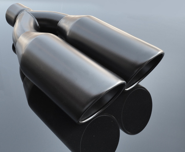 black exhaust muffler tip dual round double walled inner beveled 3 inlet id 10 25 x 5 outer dimension od rtp 073b