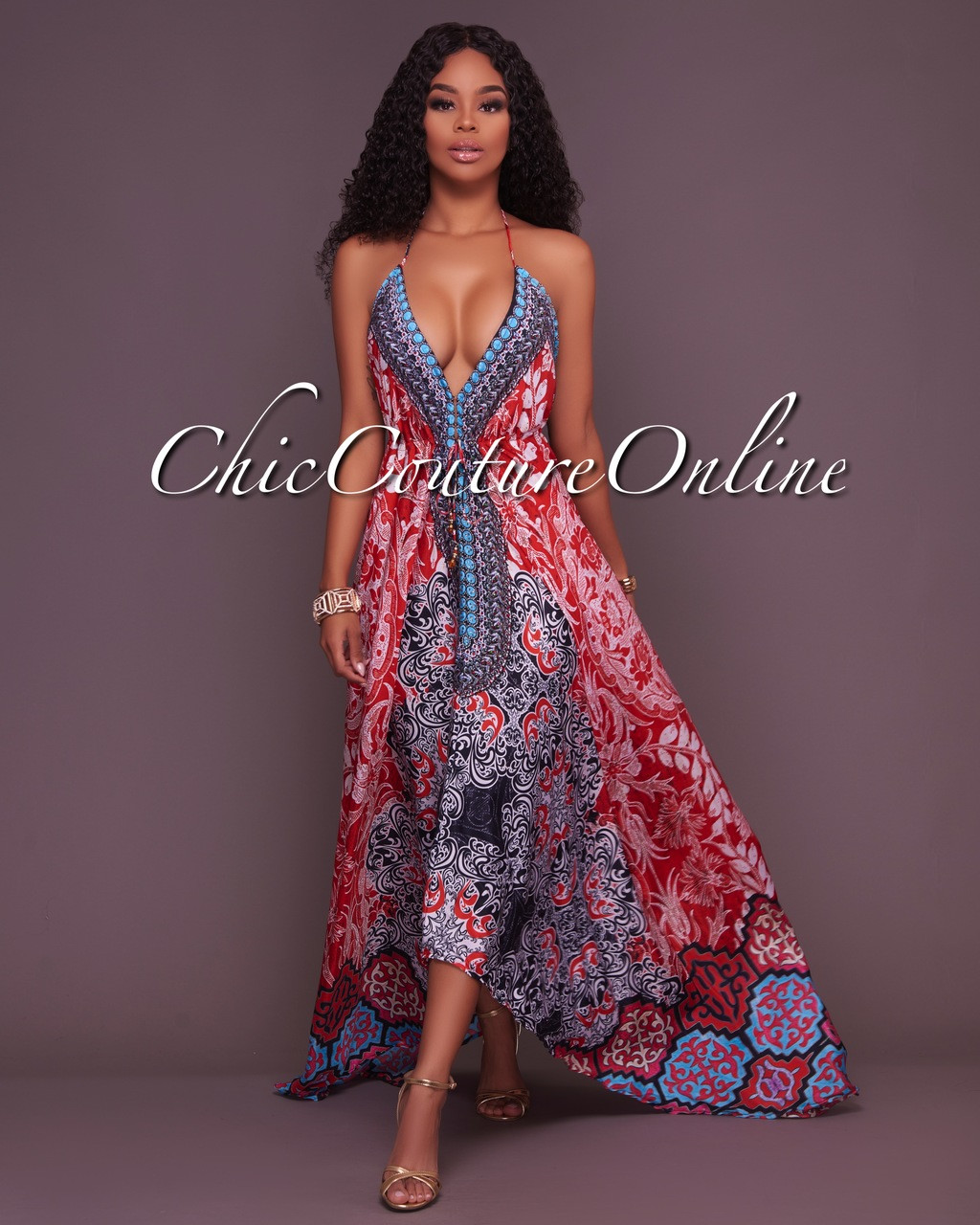 Newton Multi-color Silky Halter Dress